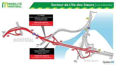 Fermetures A15 secteur île des Sœurs, fin de semaine du 6 décembre (Groupe CNW/Ministère des Transports)