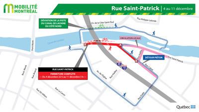 Fermeture de la rue Saint-Patrick jusqu'au 11 décembre (Groupe CNW/Ministère des Transports)