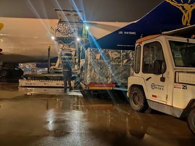 La carga aérea a su llegada a Hangzhou (PRNewsfoto/SF Express)