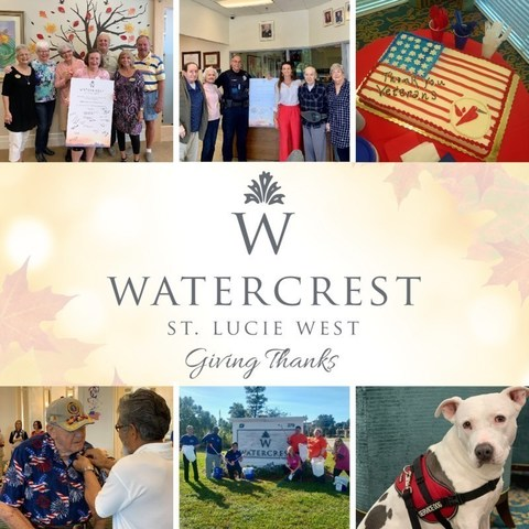 Residents and associates at Watercrest St. Lucie West Assisted Living and Memory Care enjoyed 'Giving Thanks' this November as part of Watercrest's year-round Common Unity initiatives.