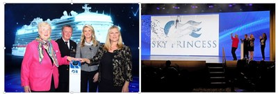 Poppy Northcutt, Captain Heikki Laakkonen, Captain Kay Hire and Princess Cruises President Jan Swartz celebrate the christening of Sky Princess during the naming ceremony in Fort Lauderdale, Florida