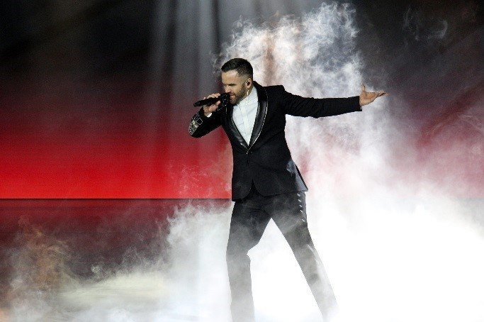 Brian Justin Crum, top competitor on America's Got Talent, performs during the Sky Princess Naming Ceremony in Fort Lauderdale, Fla.
