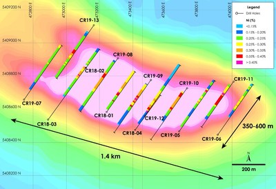 Figure 1 – Crawford Nickel-Cobalt Project - Plan View of 2018 and 2019 Drilling (CNW Group/Noble Mineral Exploration Inc.)