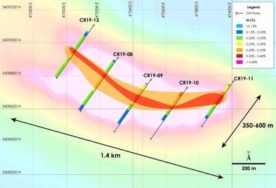 Figure 3 – Crawford Nickel-Cobalt Project - Plan View showing Higher Grade Zone (CNW Group/Noble Mineral Exploration Inc.)