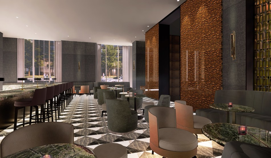 Rendering of restaurant lounge at The Hazleton Hotel, courtesy of Yabu Pushelberg. (CNW Group/The Hazleton Hotel)