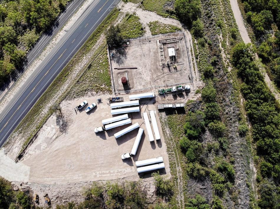 High Pressure LNG Vaporization Jobsite Aerial Photo