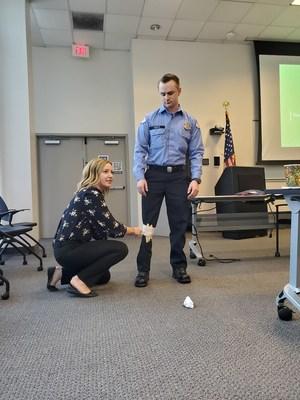 A participant simulates painful joints.