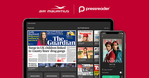 Air Mauritius continues to invest in premium products, like PressReader, to bring a world-class travel experience to the world-class destinations they serve. (CNW Group/PressReader Inc.)