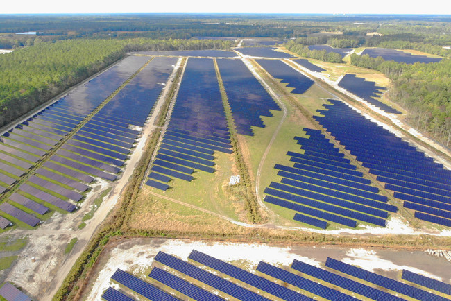Solar FlexRack's G3L-X Fixed Tilt Racking Installed in Cubico Sustainable Investments' Pender County Solar Power Plant.