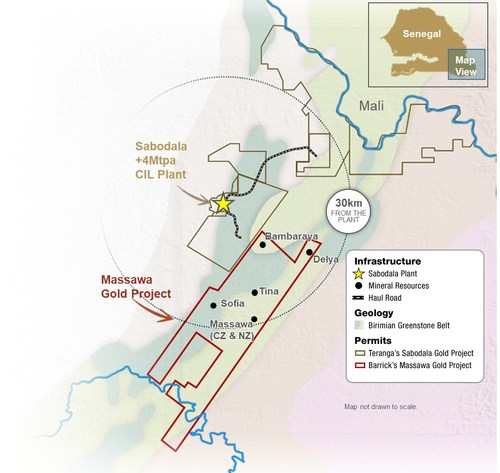 Figure 1 – Map of Teranga's Sabodala Gold Mine and Barrick's Massawa Gold Project (Senegal, West Africa) (CNW Group/Teranga Gold Corporation)