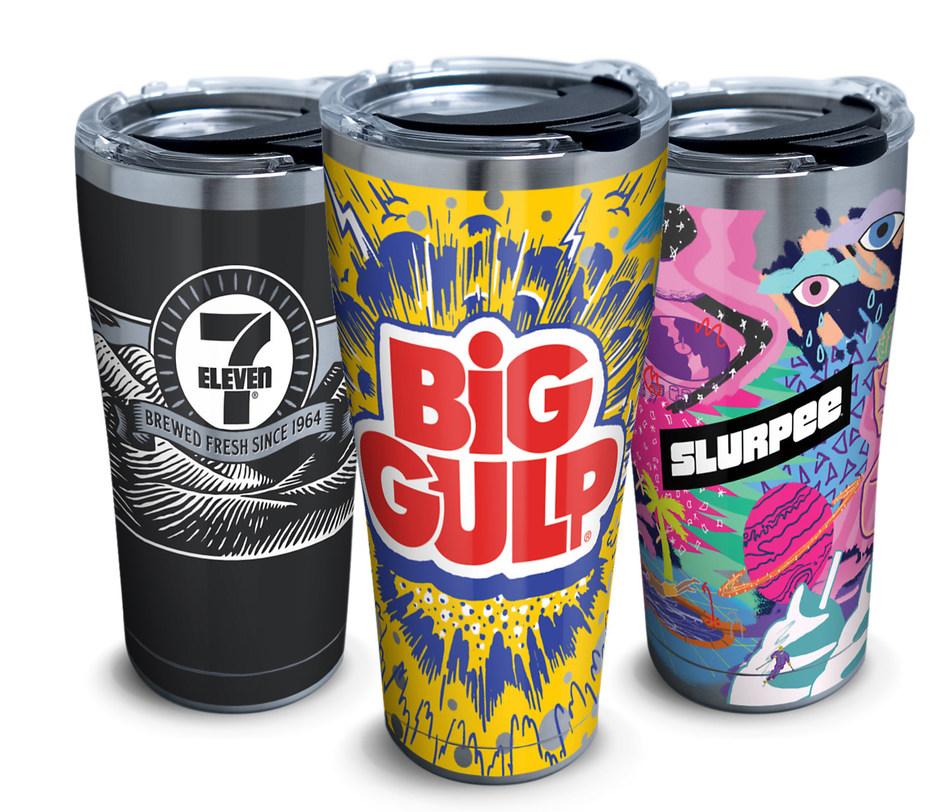 Get 'em while they're hot … and cold! 7-Eleven, Inc. is offering limited-edition cups for each of its signature proprietary beverages – Slurpee®, Big Gulp® and coffee – that include a year of free beverages. Available exclusively on the convenience retailer's 7-eleven.com website* for a one-day sale starting Dec. 11 at 12 p.m. EST, the 20-ounce coffee and Slurpee cups and 30-ounce Big Gulp cups are stainless-steel Tervis tumblers. Each branded cup has a unique design and comes in a gift box.