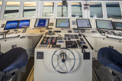 The view from the impressive bridge of the CCGS Capt. Jacques Cartier, the second fisheries science vessel delivered to the Canadian Coast Guard on November 29 by Seaspan Shipyards. (CNW Group/Seaspan Shipyards)
