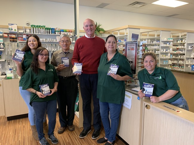 Local pharmacist, Tom Lovett (Third from right) and Cliff Han, the inventor of AllerPop are happy to join hand to serve the local allergy sufferer with AllerPops. From left to right in the picture, Ashley Zubia, Liz Maestas, Cliff Han, Tom Lovett, Daniela Perez, and Melissa Roybal.