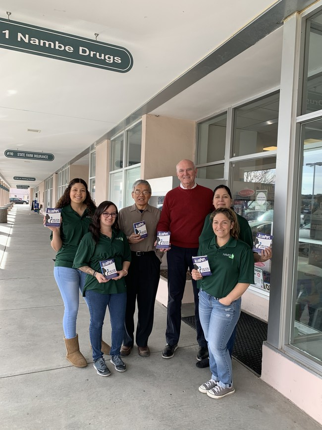 Nambe Drugs stocks AllerPops. From left to right in the picture, Ashley Zubia, Liz Maestas, Cliff Han, Tom Lovett, Daniela Perez, and Melissa Roybal.