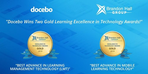 Docebo Wins 2 Gold 2019 Brandon Hall Group Excellence Awards (CNW Group/Docebo Inc.)