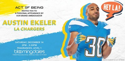 Join Act of Being this Saturday, December 14 at Bloomingdale's Sherman Oaks for our Holiday Pop-up Shop and meet Austin Ekeler of the LA Chargers.