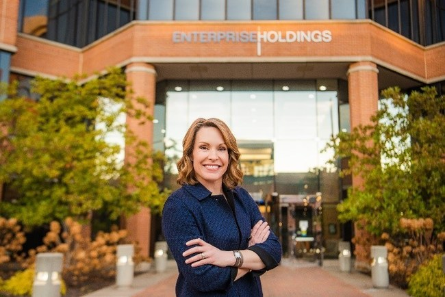 Chrissy Taylor in front of the company's global headquarters in St. Louis. She will become CEO of the mobility leader on Jan. 1, 2020.