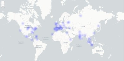 Heat map of GeoCash users