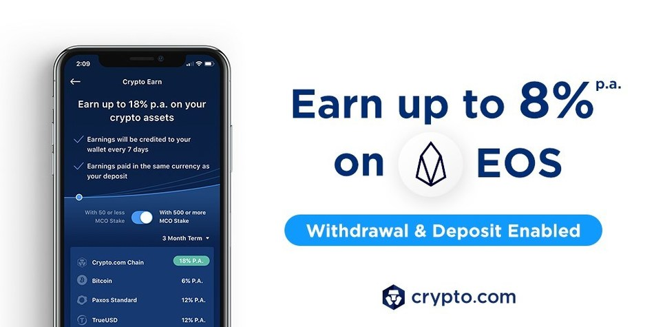Crypto Earn: Now Earn 8% p.a. on EOS deposits (PRNewsfoto/Crypto.com)