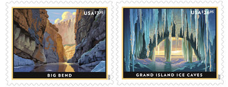 With these new Priority Mail and Priority Mail Express stamps, the U.S. Postal Service celebrates the Big Bend region in West Texas where river, mountain, and desert ecosystems coexist in vast expanses, and the winter beauty of the Grand Island Ice Caves in Lake Superior.