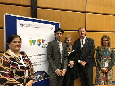 Zainab Azim with NASA's Deputy Chief Scientist David Draper, Curator Space Girls Space Women Dr. Fiorella Coliolo, Brother Ali Azim and Mother Dr. Rabiya Azim at the Inaugural UN World Space Forum in Vienna, Austria. (CNW Group/G.I.V.E.(Global Initiative and Vision for Education))