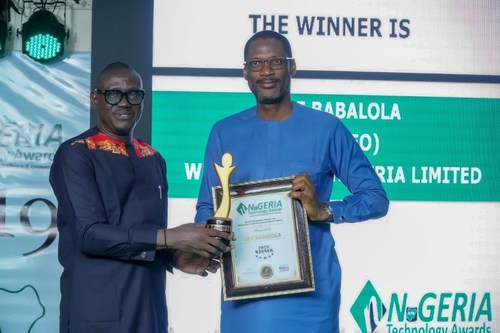 Ope Babalola, Managing Director of Webb Fontaine Nigeria accepting his award at the Nigeria Technology Awards 2019.