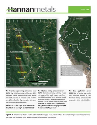 Figure 1. Overview of the San Martin sediment-hosted copper-silver project in Peru. Hannan's mining concessions applications now cover 100 kilometres strike (49,400 hectares) of prospective host horizon. (CNW Group/Hannan Metals Ltd.)
