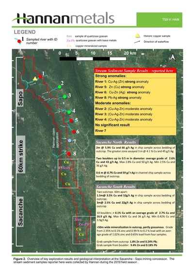 Figure 2. Overview of key exploration results and geological interpretation at the Sacanche - Sapo mining concession. The stream sediment samples reported here were collected by Hannan during the 2019 field season. (CNW Group/Hannan Metals Ltd.)