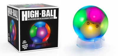 The High Ball (right) on the included display stand next to its retail package (left).