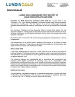 Lundin Gold Announces First Export of Gold Concentrate and Doré (CNW Group/Lundin Gold Inc.)