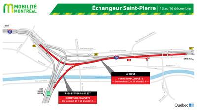 Fermetures A20 EST et échangeur Saint-Pierre, fin de semaine du 13 décembre (Groupe CNW/Ministère des Transports)