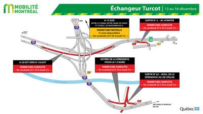 Fermetures échangeur Turcot, fin de semaine du 13 décembre (Groupe CNW/Ministère des Transports)