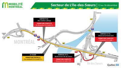 Fermetures A15 SUD secteur Atwater / île des Sœurs, fin de semaine du 13 décembre (Groupe CNW/Ministère des Transports)