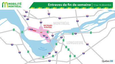 Carte générale des entraves, fin de semaine du 13 décembre (Groupe CNW/Ministère des Transports)