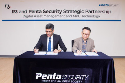 Amit Ghosh, COO of R3 APAC (left) and Dr. Sim, CTO of Penta Security (right)