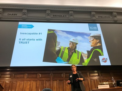 Bechtel's Linda Miller delivers her final speech in London as the 12th Brunel International Lecturer for the Institution of Civil Engineers. Miller is only the second woman to hold the post, which honors outstanding achievements in engineering.