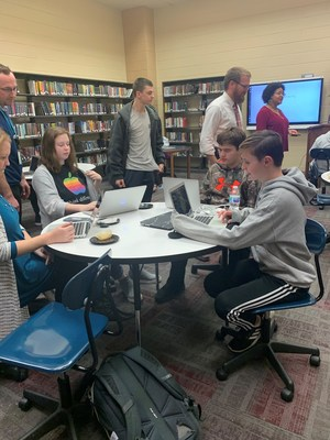 Students participating in C Spire's new Software Development Pathway (SDP) used an Hour of Code event last week at the Brandon High School library to showcase their academic progress and recent course work in web and app development.  The SDP participants also  led fellow students and guests in some fun coding activities. Similar events were held across Mississippi at company retail stores as part of the Hour of CodeTM and an emphasis on computer science education and job opportunities.