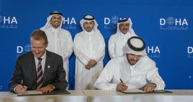 VW CEO Dr. Herbert Diess and QIA CEO Mr. Mansoor Bin Ebrahim Al-Mahmoud (PRNewsfoto/Qatar Investment Authority (QIA))