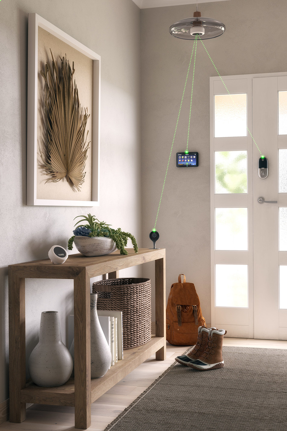 Wi-Charge PowerPuck long-range wireless charging system, installed in a light fixture, delivering power to home security devices. Energy is delivered using safe and invisible IR light. Green charging lines are for illustration purposes.