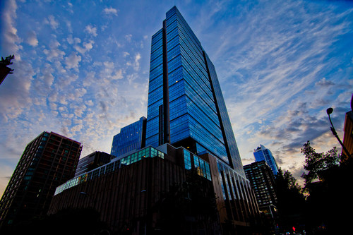 Russell Investments Center rises high in the heart of Seattle.