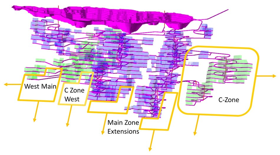 Figure 1: Current proposed mining plan and areas noted in the drill campaign. (CNW Group/Treasury Metals Inc.)