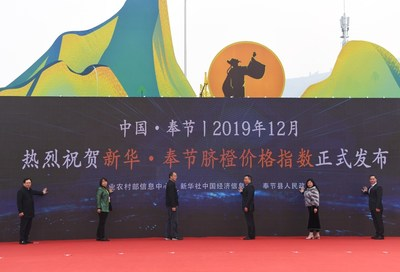 The release ceremony of Xinhua-Fengjie Navel Orange Price Index in Fengjie County, China's Chongqing municipality, Dec. 15.