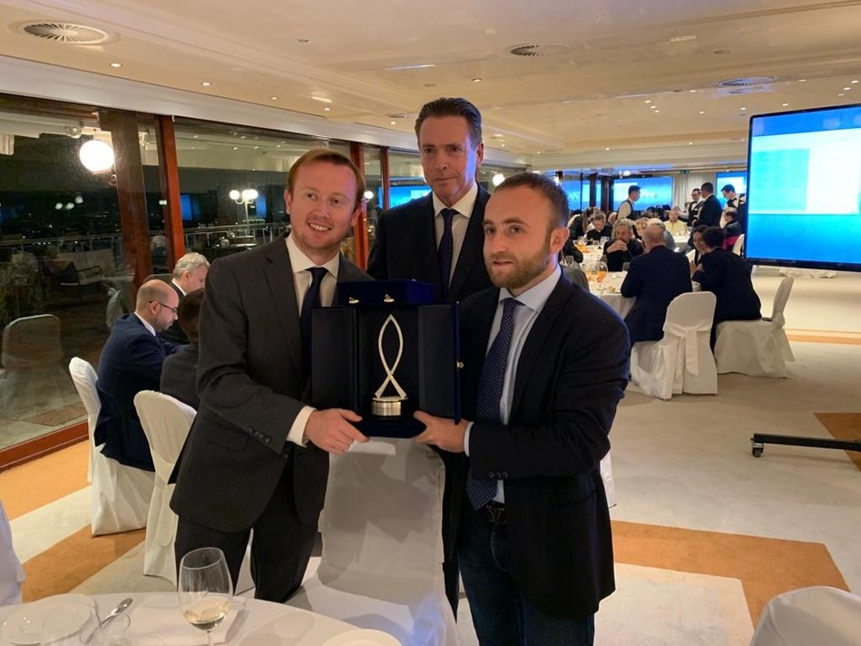 """EWTN's Original Film """"J.R.R. Tolkien – An Unexpected Friend,"""" a co-production of EWTN and Diego Blanco Albarova, won top honors in the Best Documentary category at the 2019 Mirabile Dictu International Catholic Film Festival in Rome. Anthony Johnson (l) and Alexey Gotovsky (r) from EWTN's Rome Bureau, with English Actor and Festival Judge Rupert Wynne-James, accepted the award. The documentary in English and Spanish can be purchased from EWTN Religious Catalogue at http://bit.ly/ERCHDUF"""