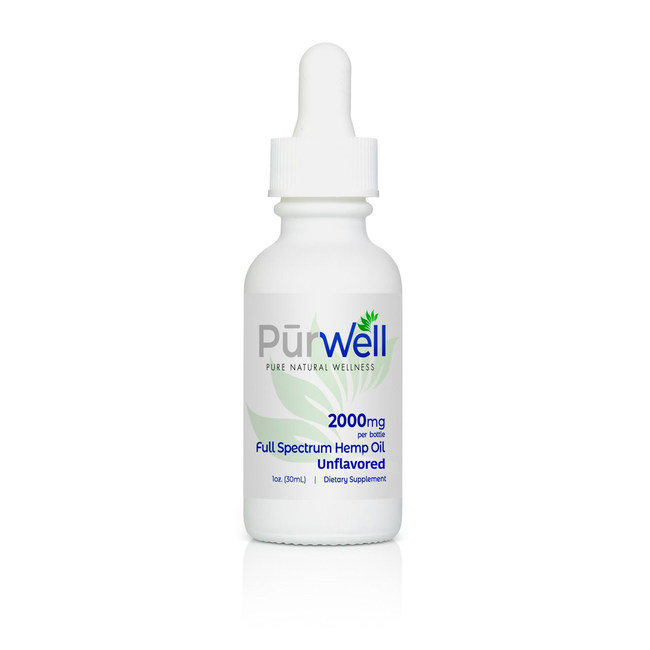 PurWell has launched its Full Spectrum Hemp Oil Tincture in unflavored 2000mg