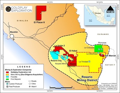 Figure 2: Location of Marlin (Mako Mining), shown in yellow, and Goldplay concessions, shown in red, in the Rosario Mining District (CNW Group/Goldplay Exploration Ltd)