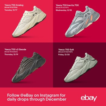 Shop eBay's December Drop series in partnership with top seller Stadium Goods. The marketplace closes 2019 with a month of must-have drops, featuring four days of Yeezy below retail and the biggest styles of 2019 from Nike x Sacai to Air Jordan x Travis Scott.