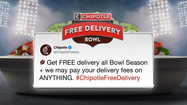 To celebrate Free Delivery Bowl, Chipotle is offering fans the chance to win free delivery on other deliveries.