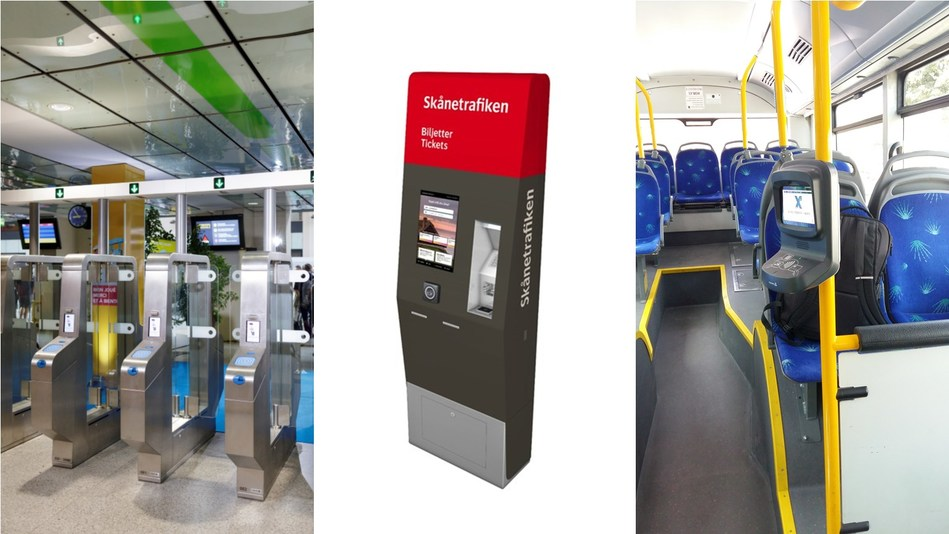 Conduent will upgrade fare collection systems for multiple public transportation providers around the world. Shown here, from left to right: SNCF Transilien 3-D Detection Gates in France, a Skånetrafiken ticket machine in Sweden, and an Egged smart-card ticket validator in Israel.