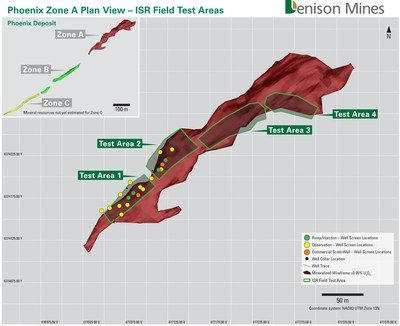 Figure 1: Phoenix Zone A plan view showing Test Areas and well installations completed during 2019. (CNW Group/Denison Mines Corp.)