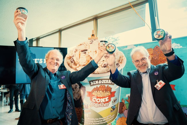 "Ben Cohen and Jerry Greenfield (Co-founders of Ben & Jerry's) are pictured at the UN Global Refugee Forum as Ben & Jerry's launch ""Cone Together"", a new flavour created to call for the rights of refugees to be advanced and protected."